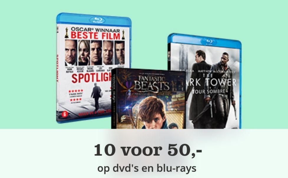 10 dvd's/blu rays voor €50  @ BOL.COM