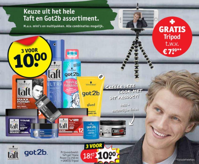 Got2b + Taft hairstyling: 3 voor €10 + gratis tripod t.w.v. €7,99 @ Kruidvat