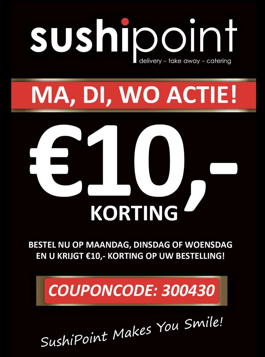 10,- sushi cadeau / 10,- korting @suhshipoint Zwolle