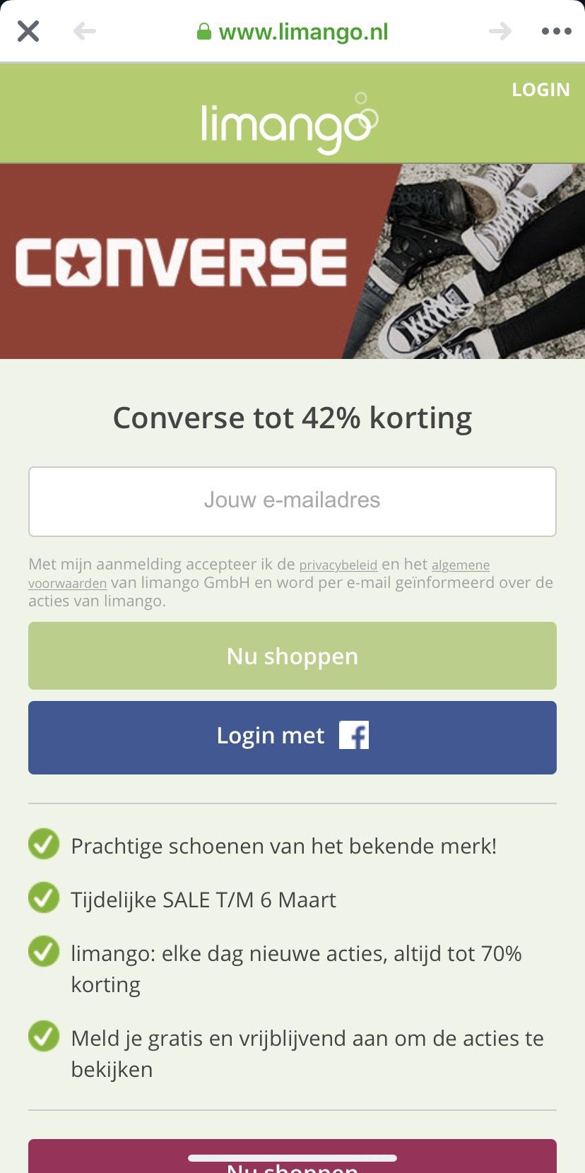 42% korting op Converse