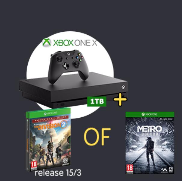 Nieuwe Xbox One X + Division 2 of Metro Exodus voor €60 bij inleveren gebruikte Xbox One X