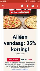 35% KORTING ALLE PIZZA'S @DOMINOS