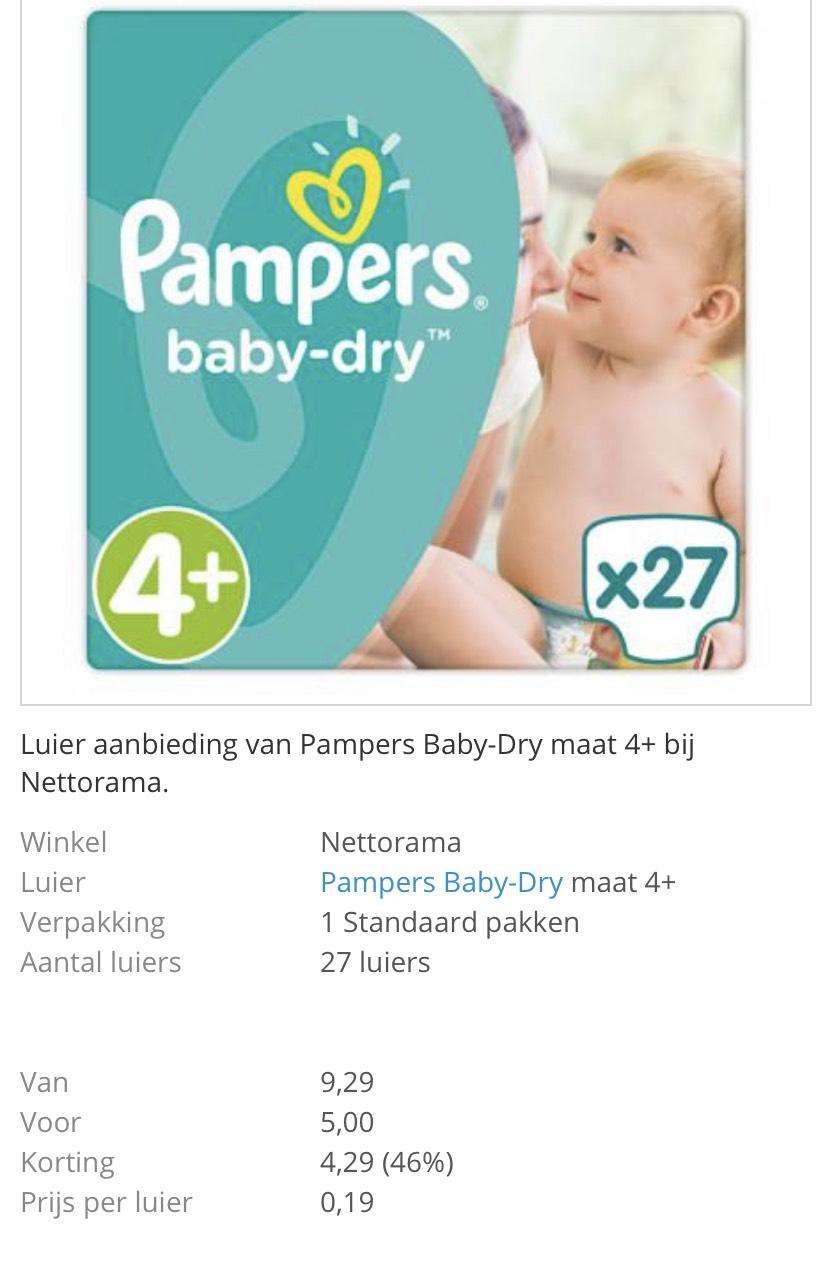 Baby dry maat 2-6 standaard voor 12-22ct/stuk nettorama =46%korting