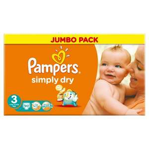 Pampers Simply Dry Jumbo boxen in de aanbieding @ Amazon.co.uk