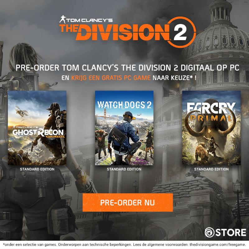 Pre-order Tom Clancy's The Division 2 voor PC en krijg een gratis game