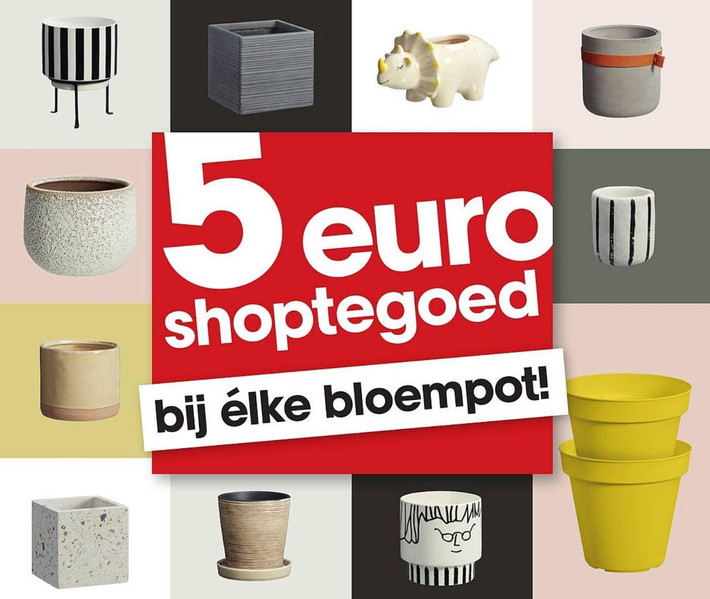 Bij aankoop Bloempot (v.a. €1,25) €5 gratis shoptegoed cadeau @Kwantum