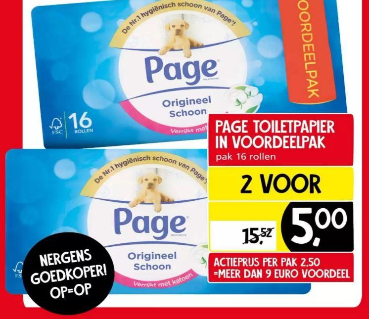32 rollen Page toiletpapier voor €5 - 0,16 per rol @Jan Linders