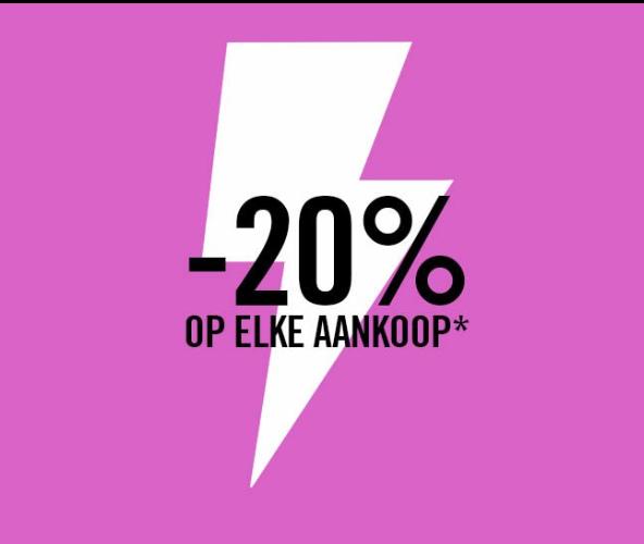 20% korting op elke aankoop*