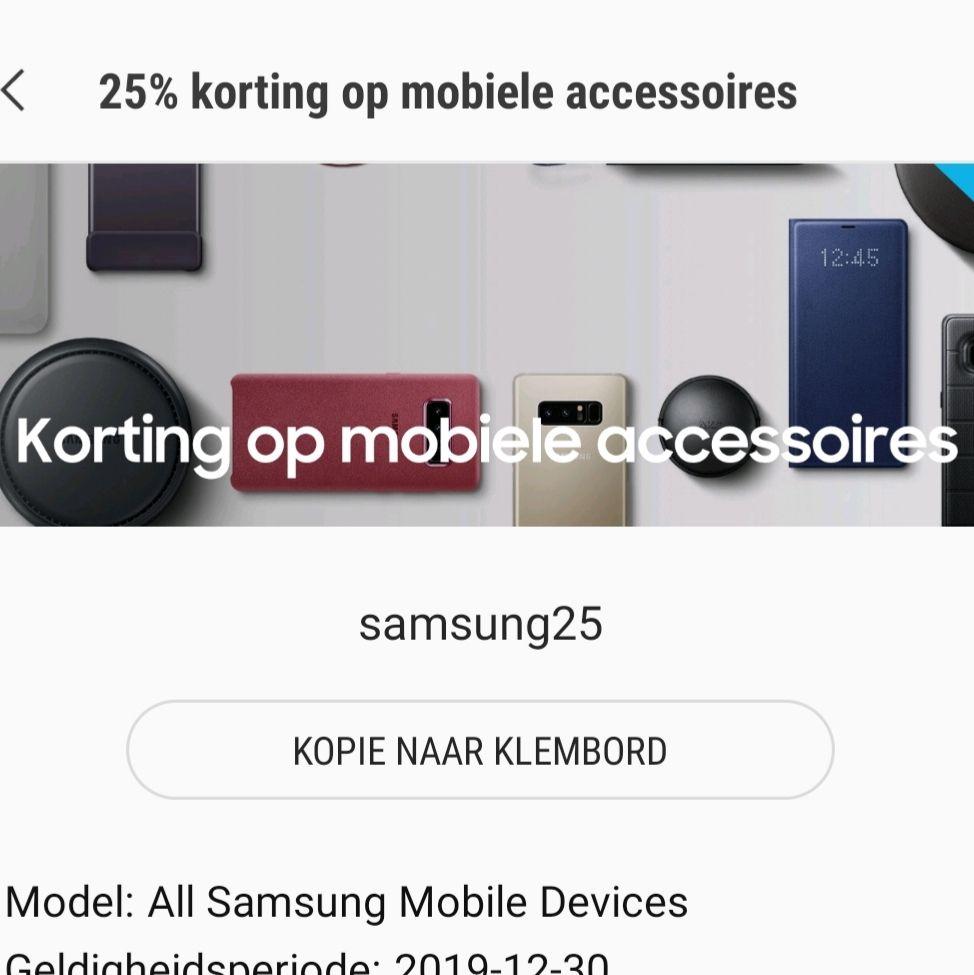 25% korting op alle mobiele accessoires samsung