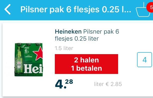 Heineken 6 pak flesjes 0,25 1+1 Gratis en meer bieraanbiedingen bij Hoogvliet
