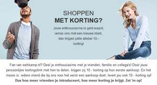 €10,- Vriendenkorting en €50 korting bij 5 nieuwe klanten @ Wehkamp
