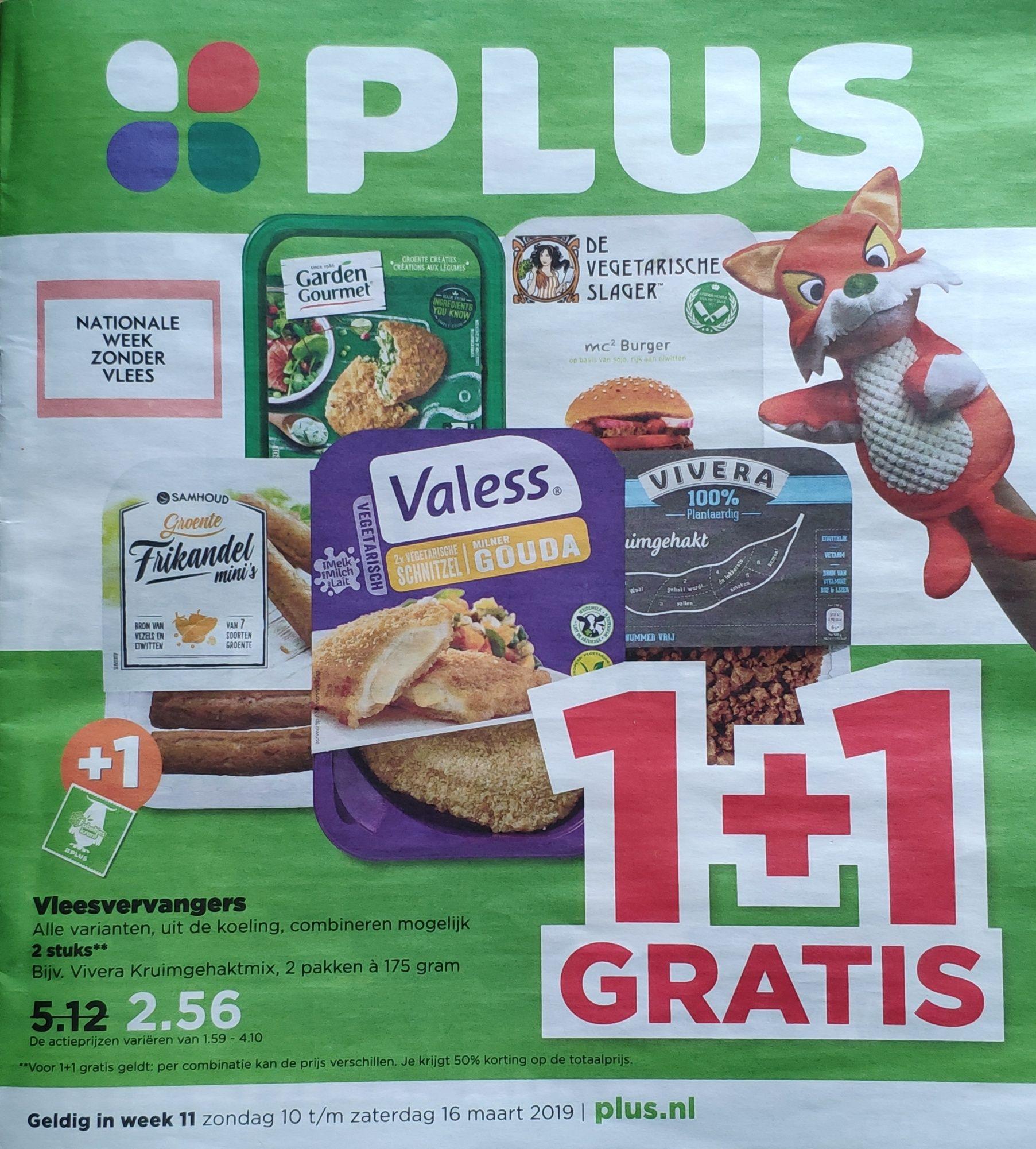 Alle vleesvervangers uit de koeling @Plus 1+1 gratis (+ gratis bezorgen)
