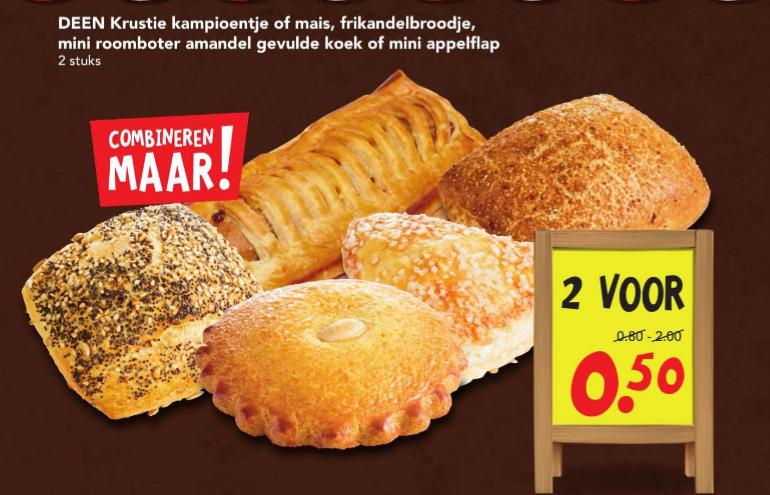 2 frikandelbroodjes voor €0,50 bij Deen