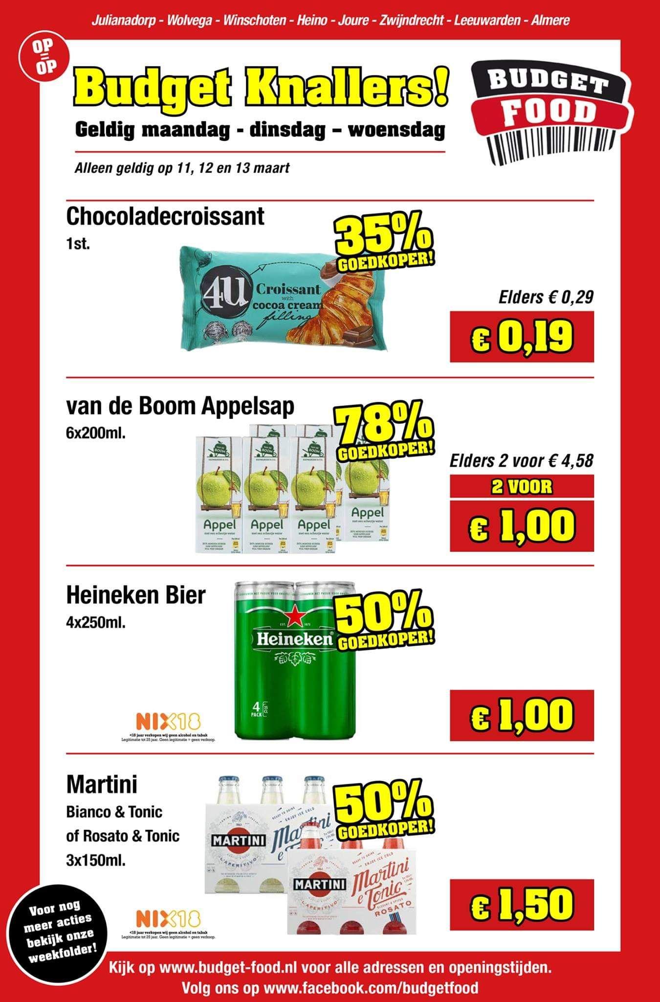 Goedkope Heineken, Brand (€0,25 per 0,5l) en Martini