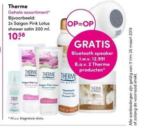 2 Therme showergel 75ml + Bluetooth speaker t.w.v. €12,99 voor €3,58 in totaal @Da/Dio drogist