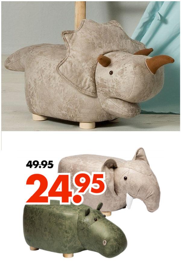 Poef: dino / olifant / nijlpaard -50% @ Wibra