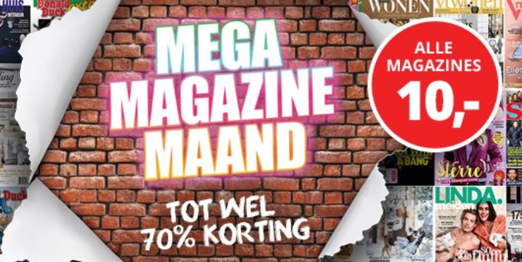 Alles €10 - tot 70% korting op tijdschriften Mega Magazine Maand
