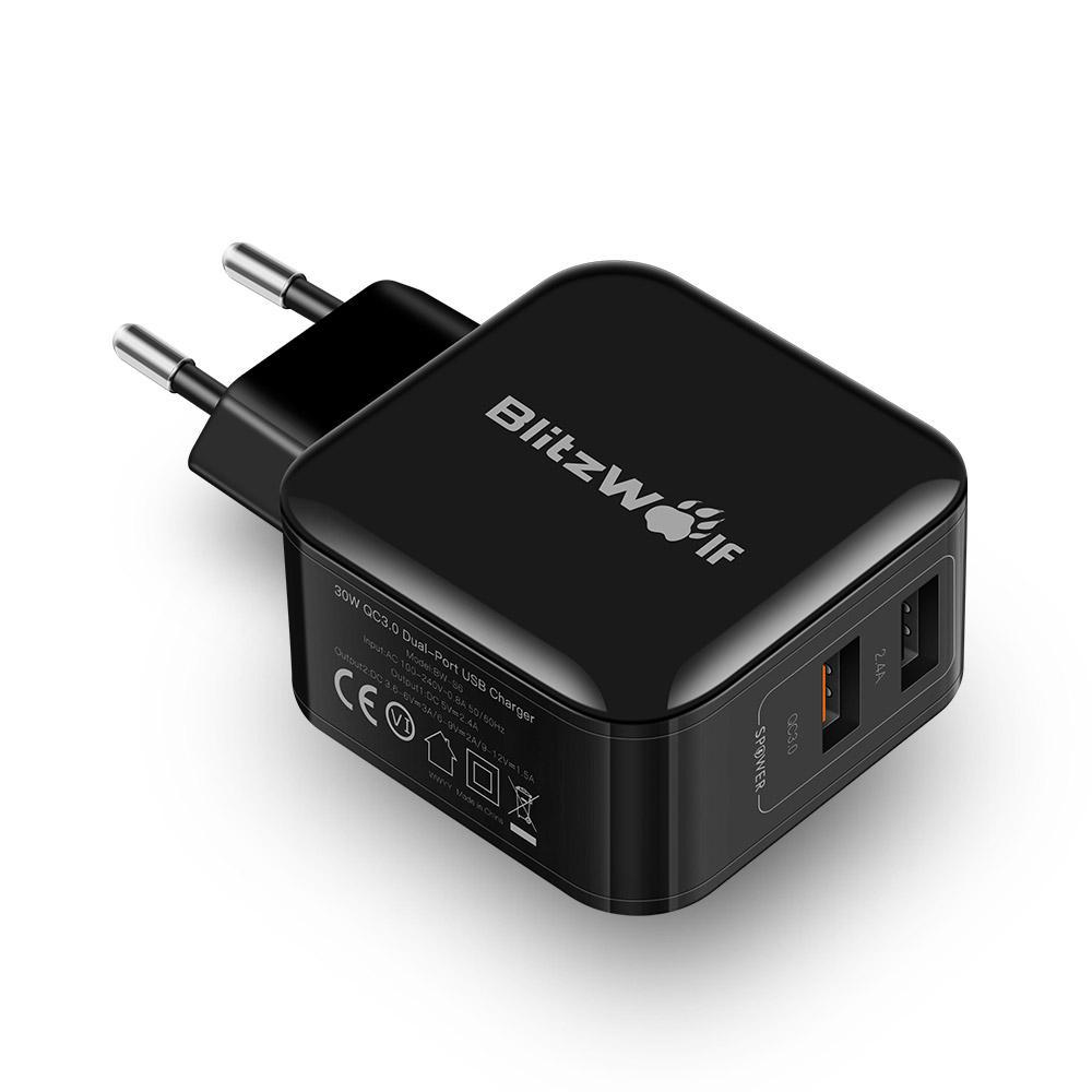 Blitzwolf BW-S6 QC3.0+2.4A 30W Dual USB Charger EU Adapter