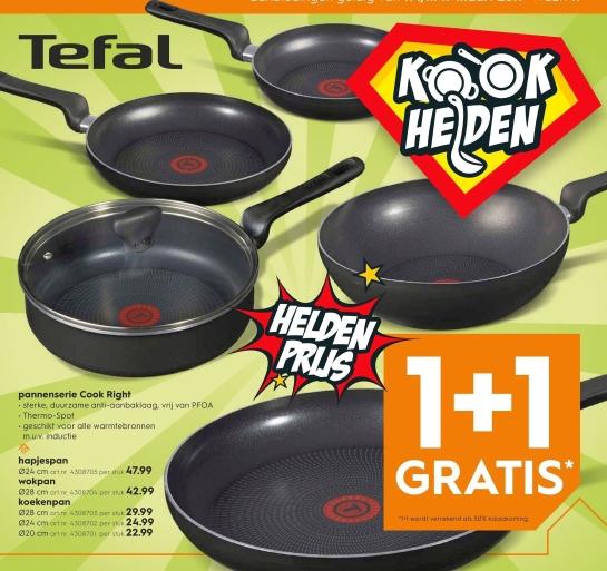 Tefal pannenserie Cook Right aanbieding. Nú tijdelijk 1+1 gratis.