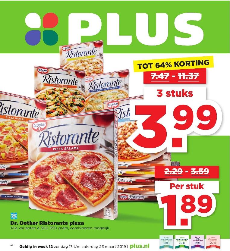 Plus: 3 Dr. Oetker Ristorante pizza's voor €3,99
