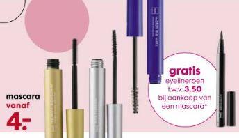 Gratis eyeliner pen t.w.v. €3,50 bij mascara (va €4) @ HEMA