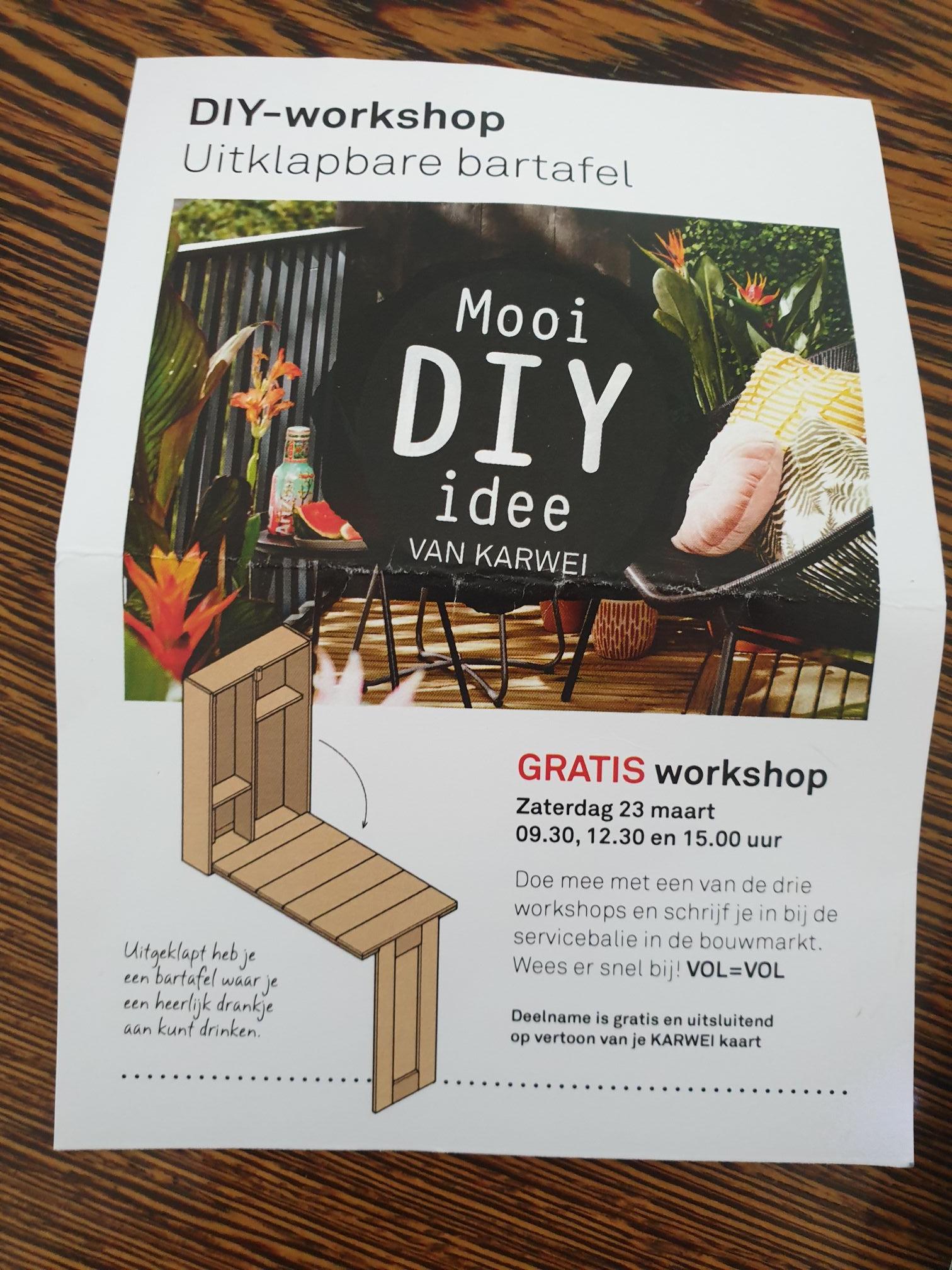 Gratis karwei workshop 23 maart 'uitklapbare bartafel'