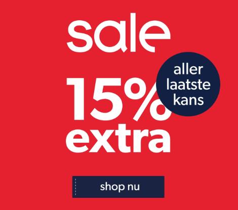 15% extra korting op veel items in de sale