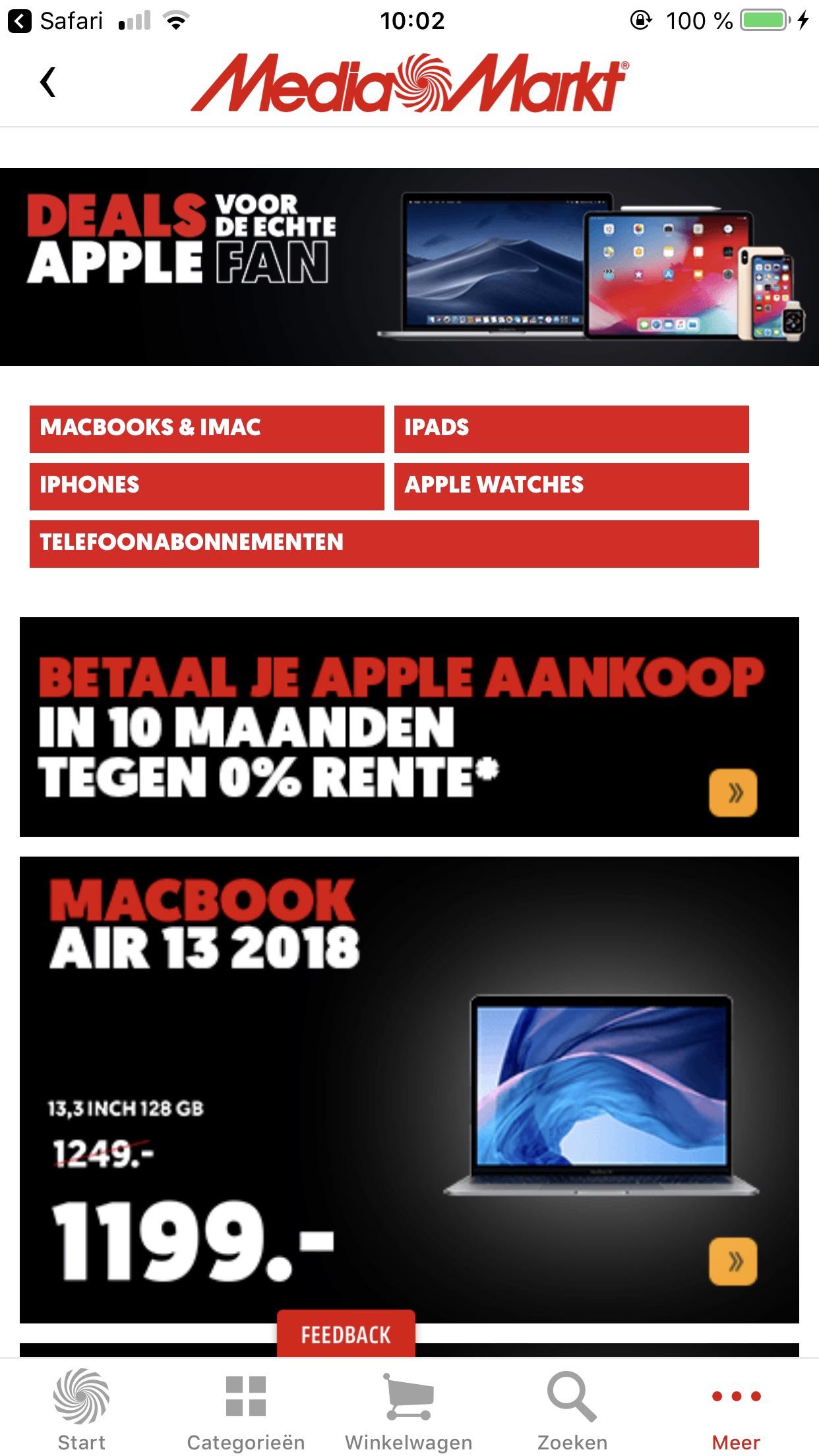 Betaal je Apple aankoop in 10 maanden tegen 0% rente @Mediamarkt