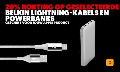 20% korting op meerdere powerbanks en lightning kabels van Belkin bij MediaMarkt