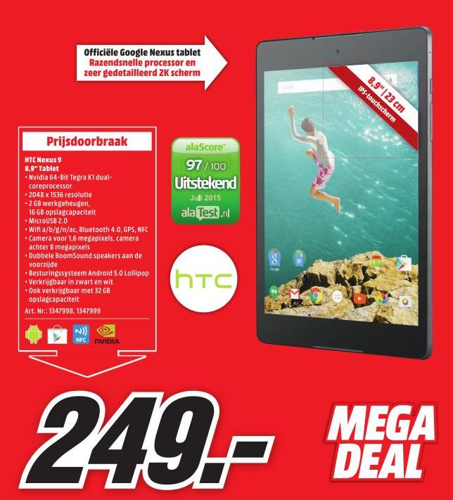 HTC Nexus 9 Wifi 16GB voor €249,- @ Media Markt