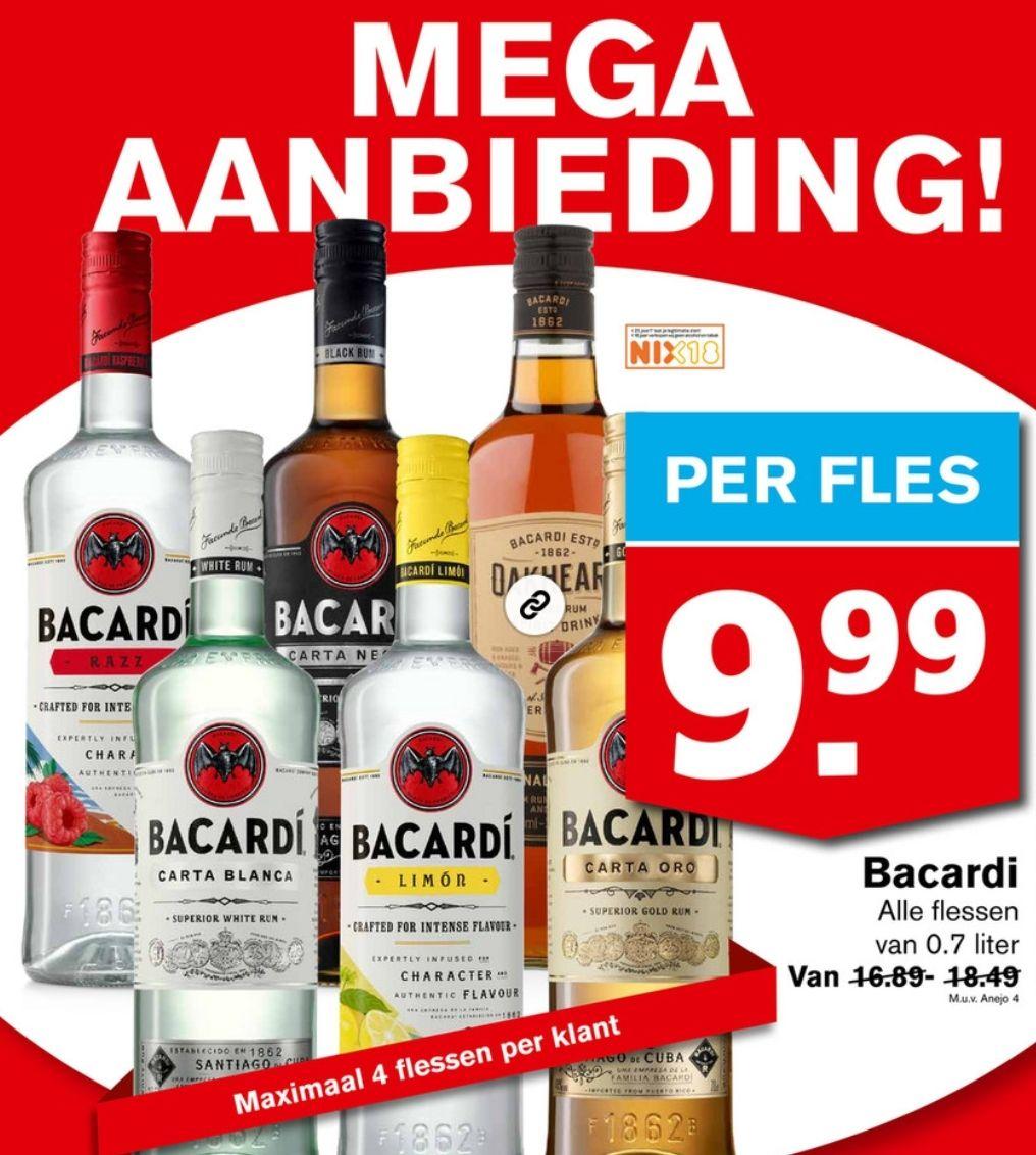 Alle Bacardi 0.7L flessen €9,99!