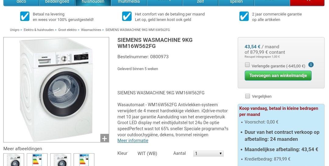 (Belgie) SIEMENS WASMACHINE 9KG WM16W562FG met 645 euro korting