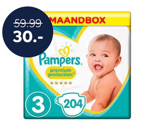 50% korting op Pampers Premium Protection maandboxen maat 1,2 en 3