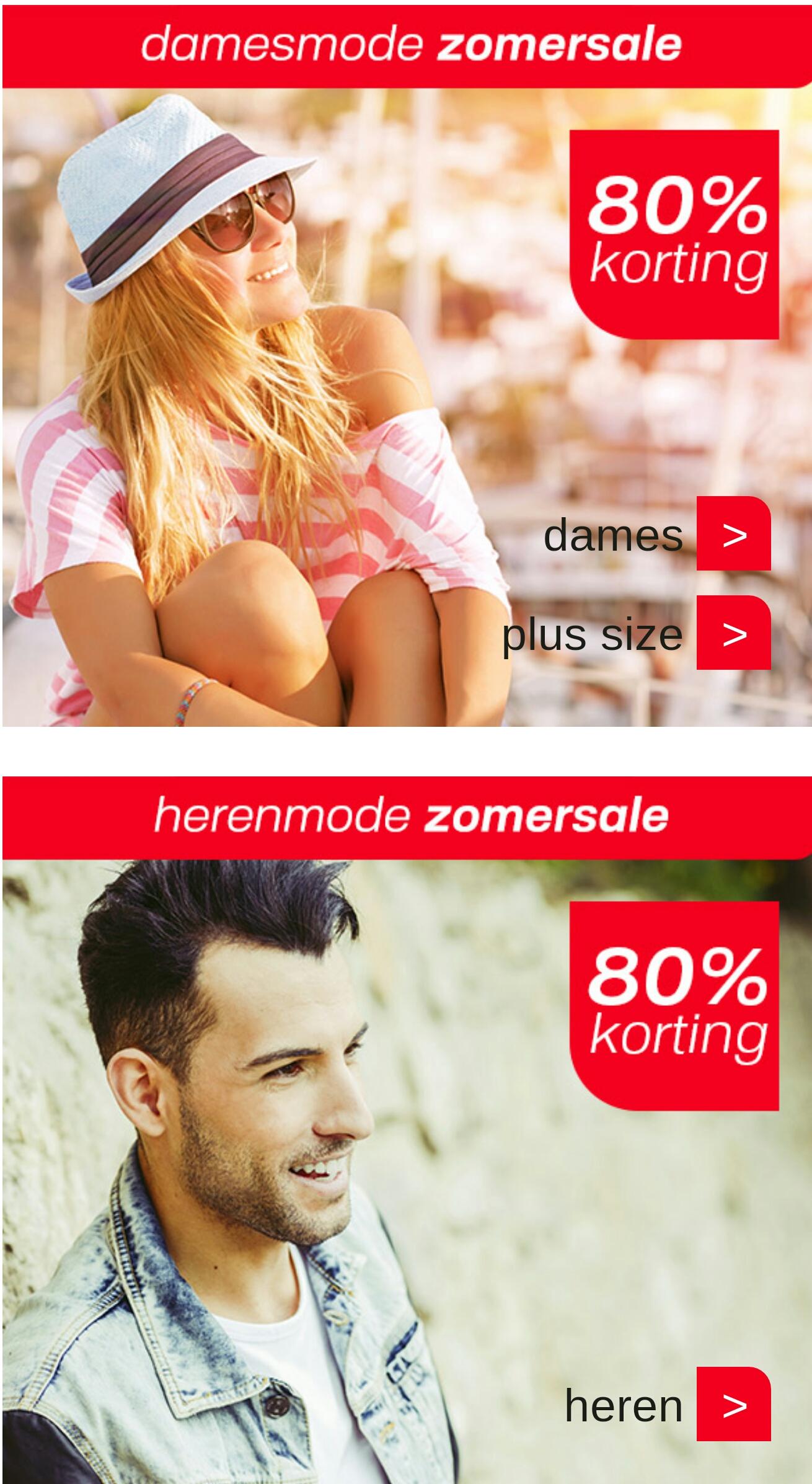 80% summer sale korting op dames en heren kleding @ Neckermann