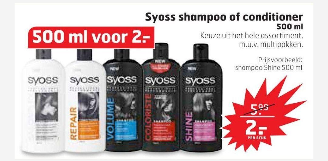 Alle Syoss shampoo en conditioner 500ml voor €2,00 per stuk: tot 70% korting @Trekpleister