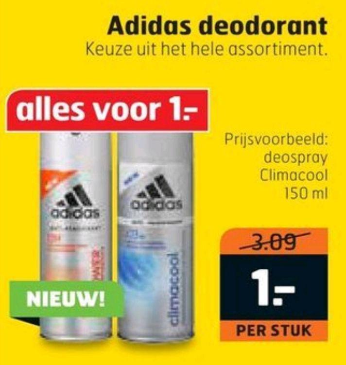 Adidas deodorant en douche voor €1,00 per stuk @Trekpleister