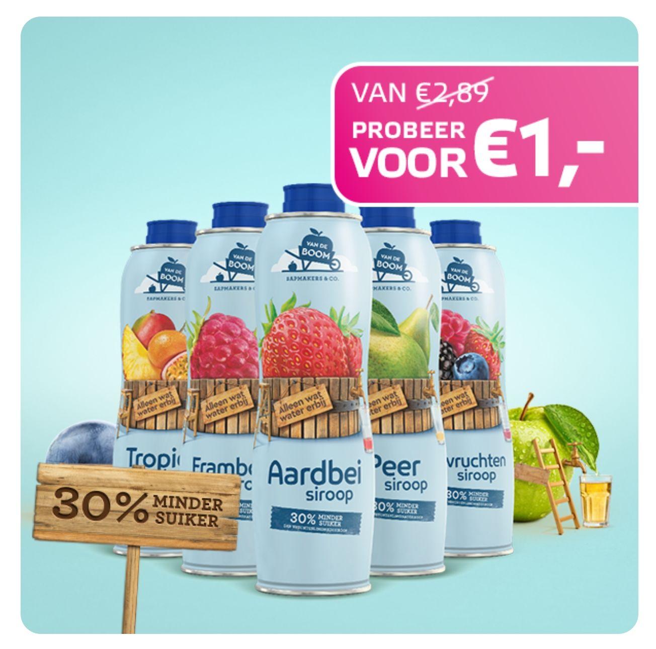 Van De Boom Siroop van €2,89 voor €1 @Scoupy