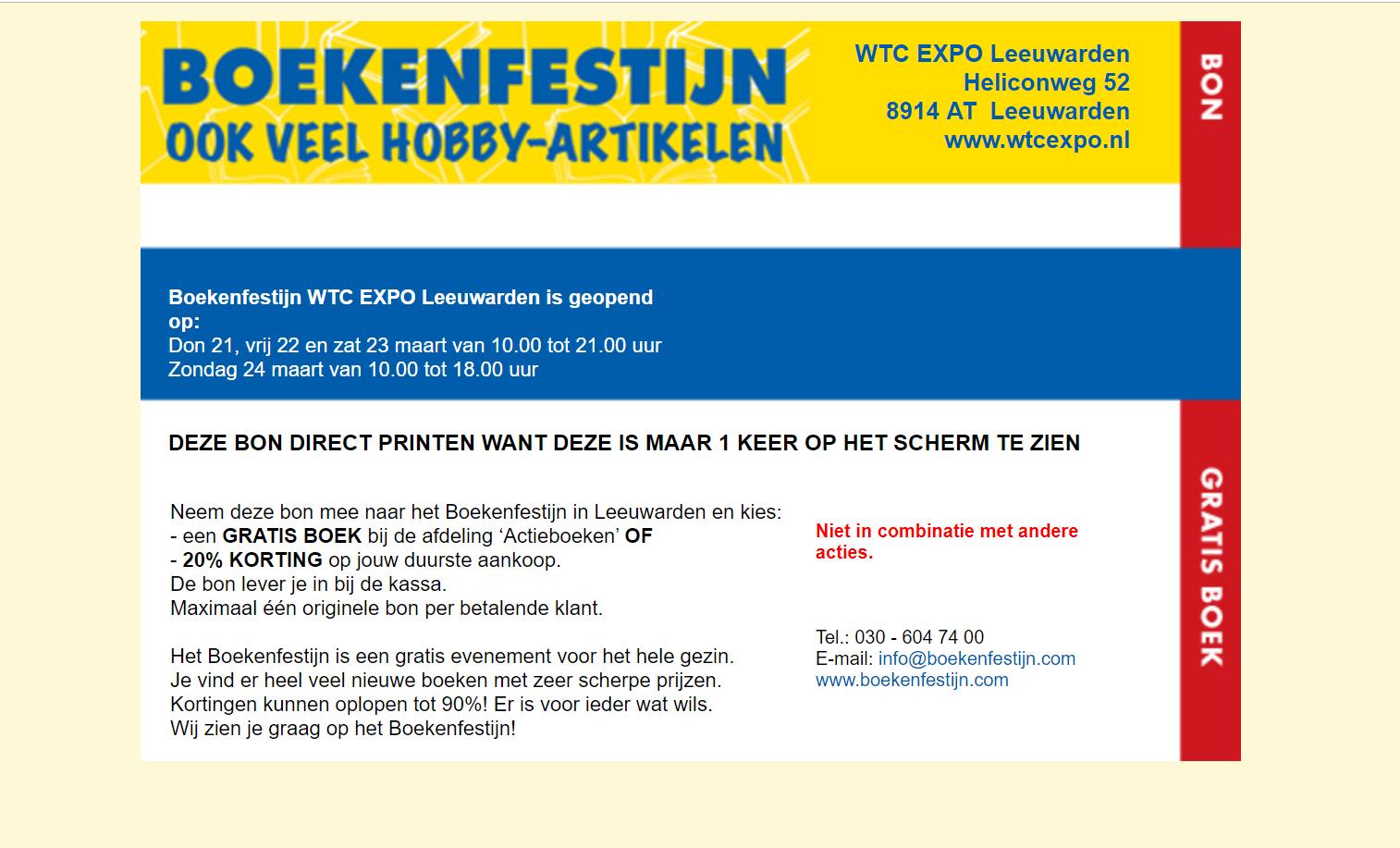 Bon voor gratis boek of 20% korting op duurste aankoop @ Boekenfestijn WTC EXPO Leeuwarden