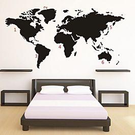 vtwonen world map muursticker - zwart (normaal € 24.95)