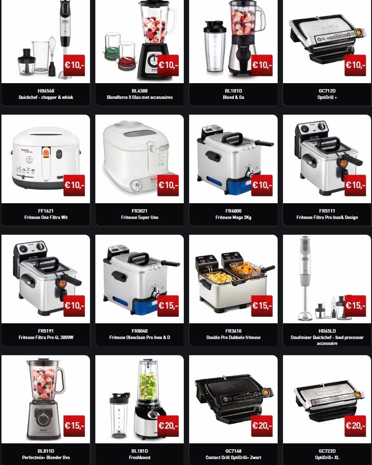 T/m € 20 en € 25 cashback bij geselecteerde producten Tefal
