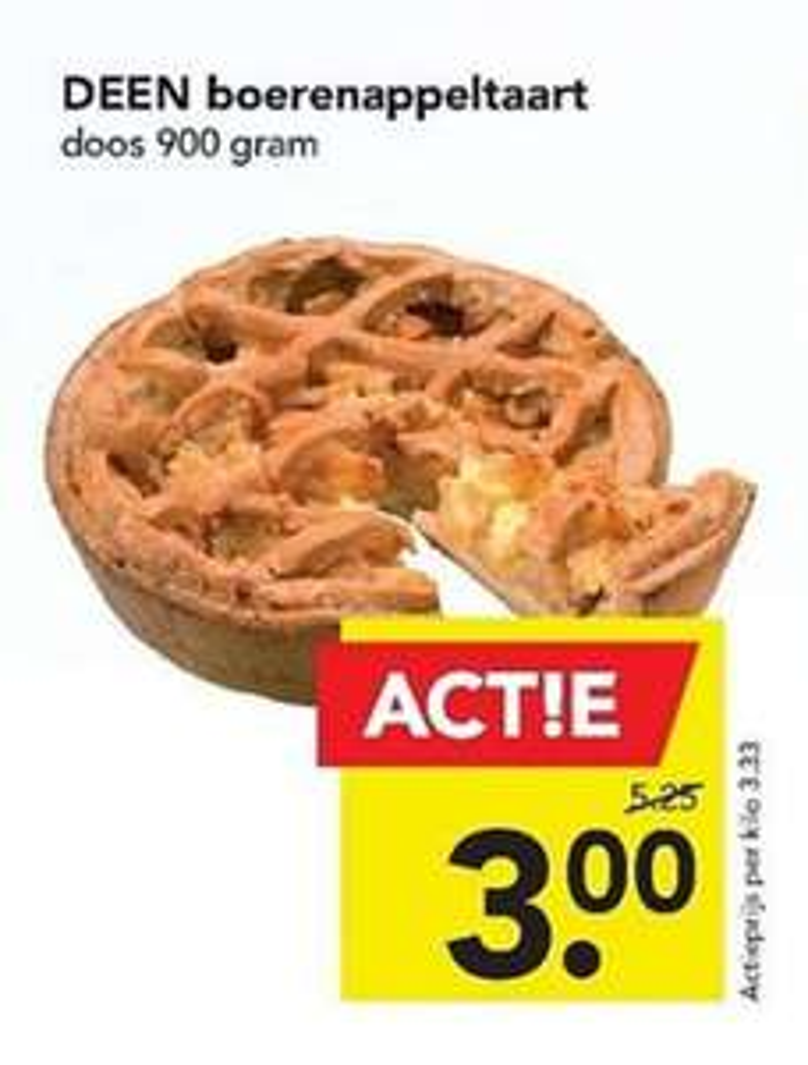 Boerenappeltaart 900 gram voor €3 @Deen
