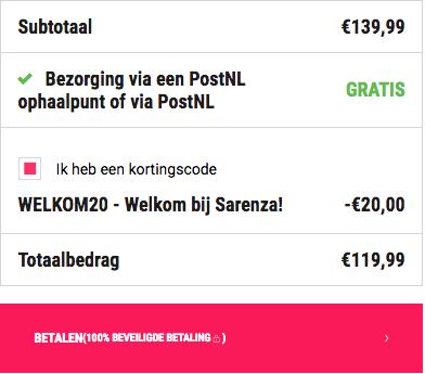 20 euro welkomstkorting bij Sarenza