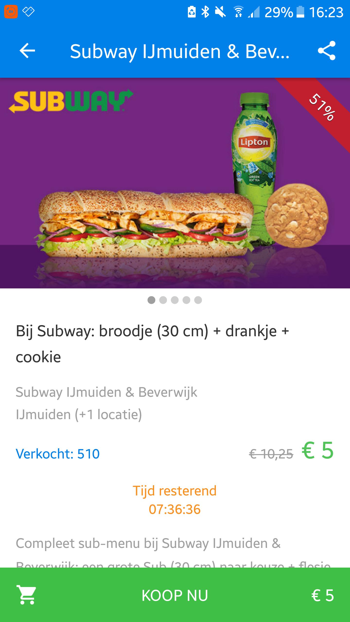 Broodje (30cm) + drankje + cookie voor €5 @subway Beverwijk en IJmuiden.