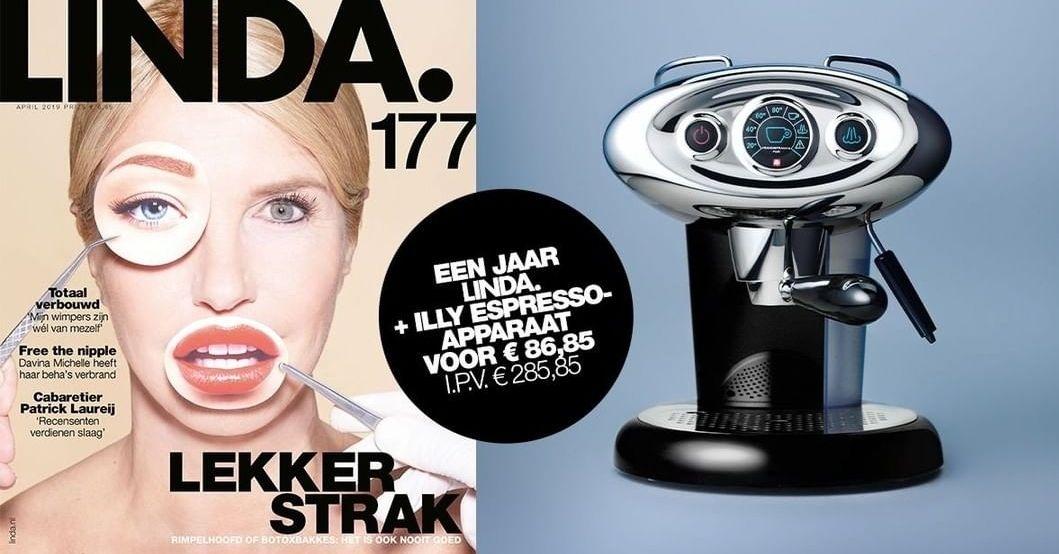 Een jaar LINDA. Magazine + Illy espressoapparaat i.p.v. €285,85