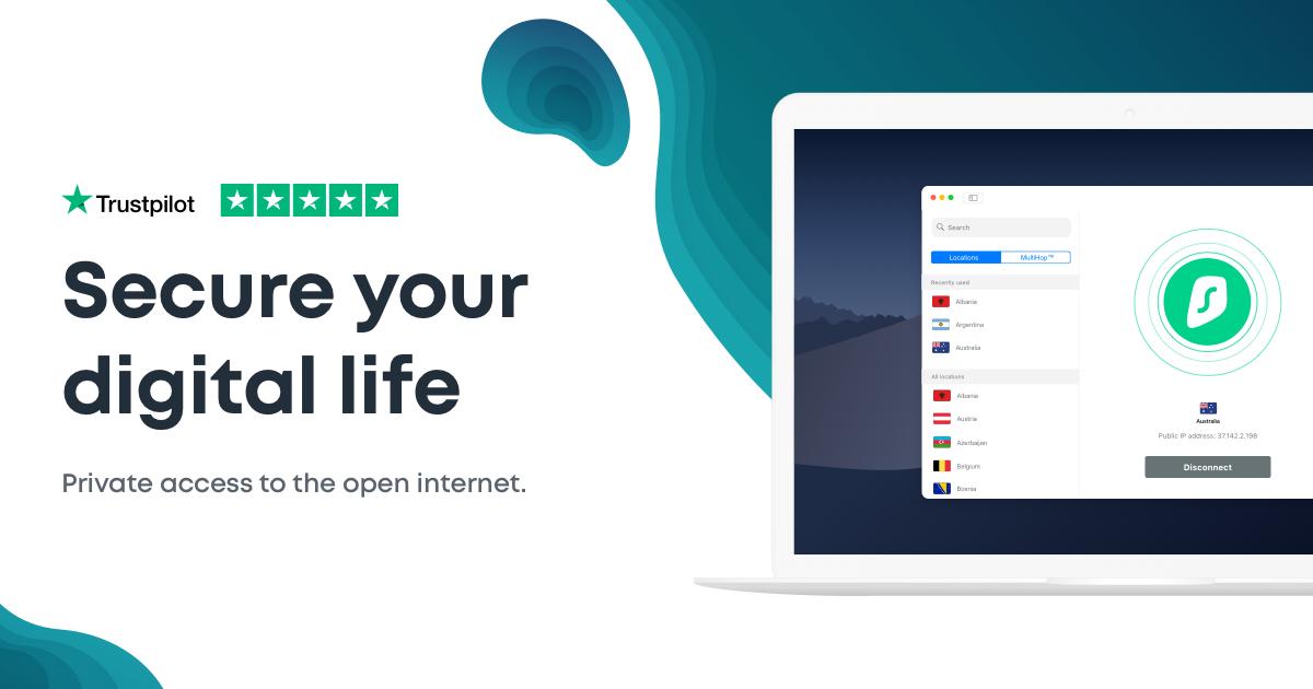 Surfshark VPN-dienst 2-jarig abonnement voor €1,75 per maand