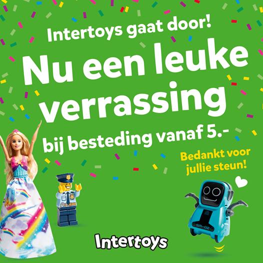 Een leuke verrassing gratis bij besteding van €5 @ Intertoys winkels (die blijven bestaan)