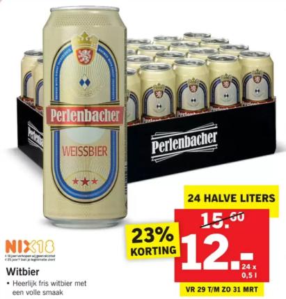 24 Halve liter blikken Perlenbacher Witbier voor €12 @ Lidl
