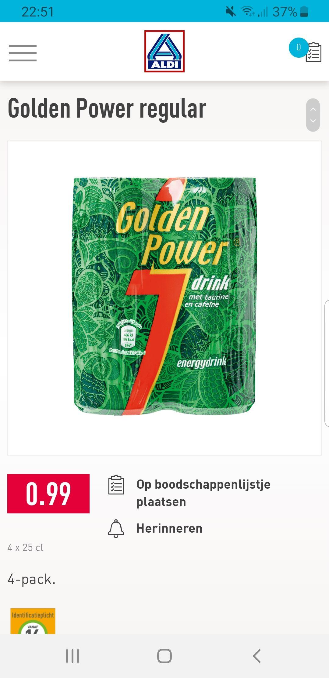 4 blikjes golden power voor 99 cent (= ruim 41% korting)