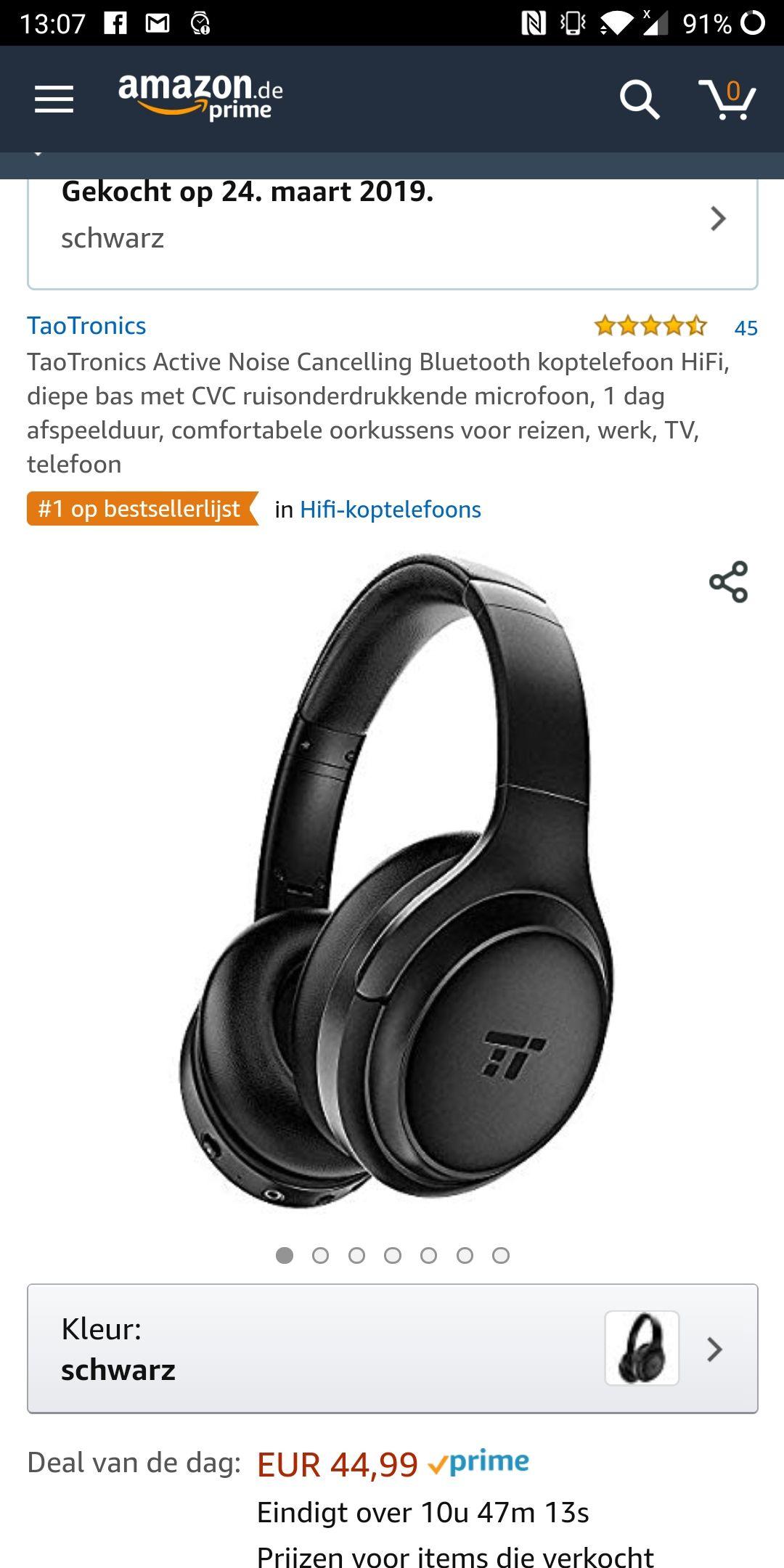 TaoTronics active noise cancelling headphones (tt-b060) voor €44,99 (DAGDEAL)