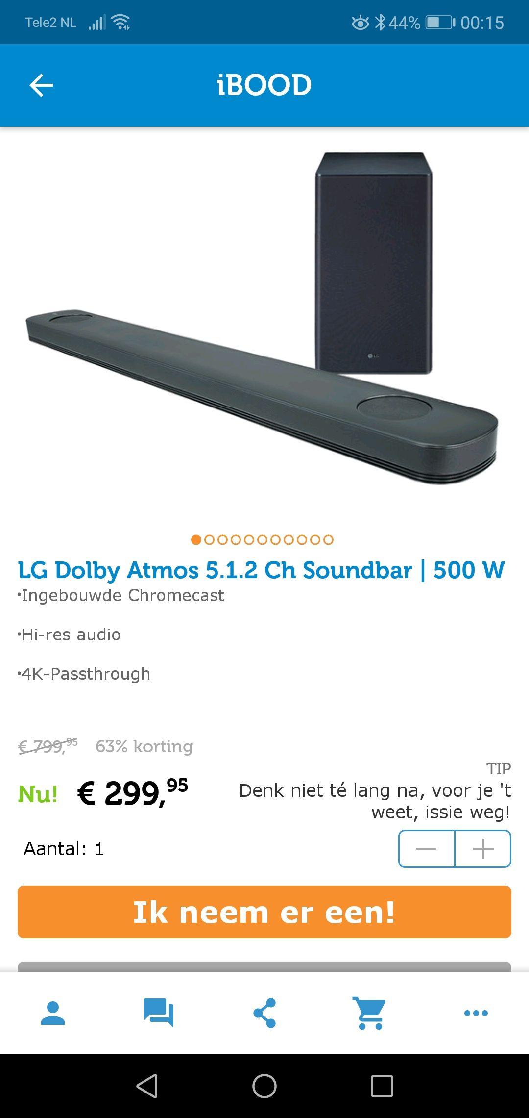 LG Dolby Atmos 5.1.2 soundbar met Chromecast built in